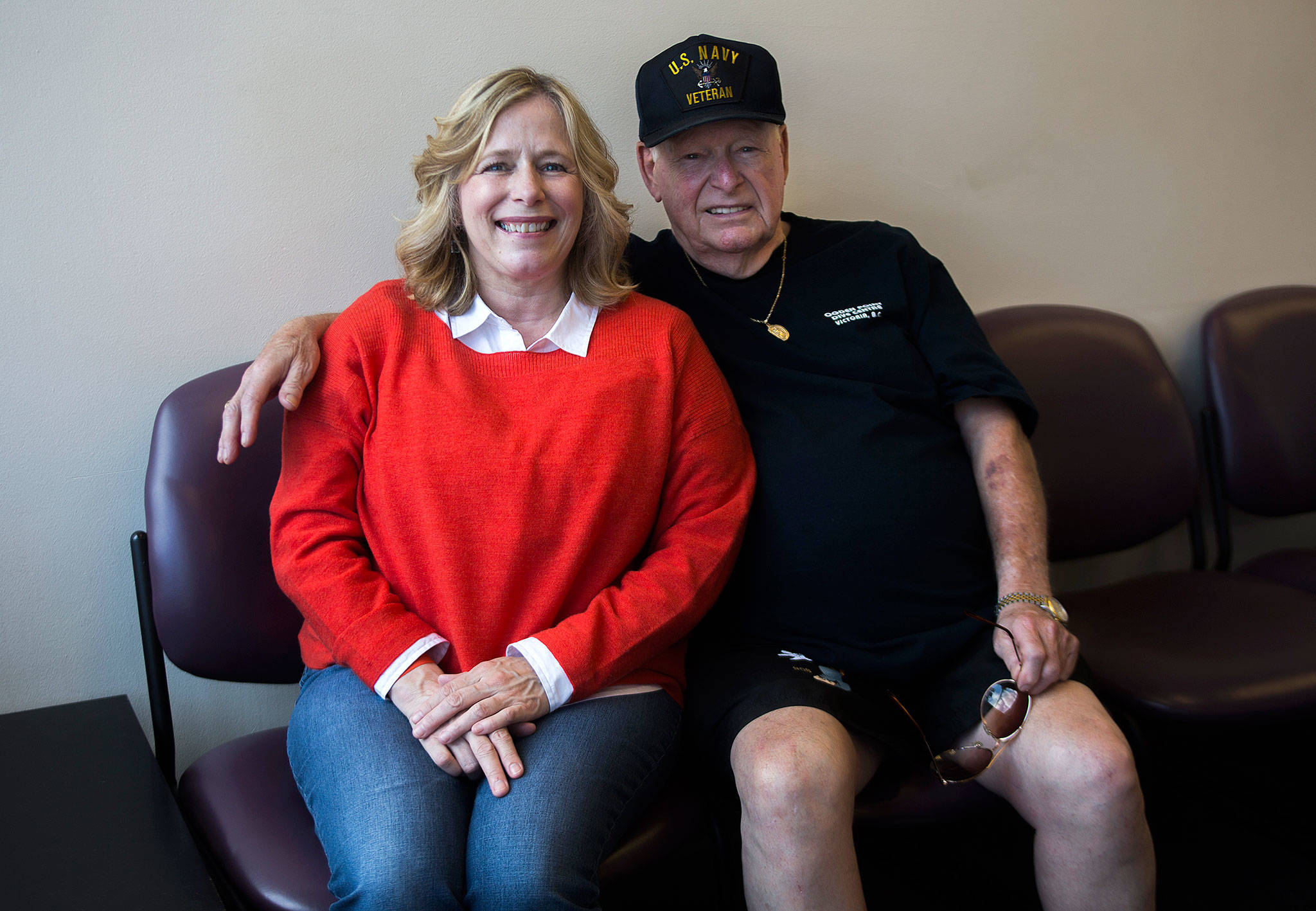 After being connected through home DNA tests through a relative, Lorna Fischer, 54, of Redmond and Bob Monize, 76, of Camano Island, went to Any Lab Test Now in Everett for a DNA paternity test. (Olivia Vanni / The Herald)