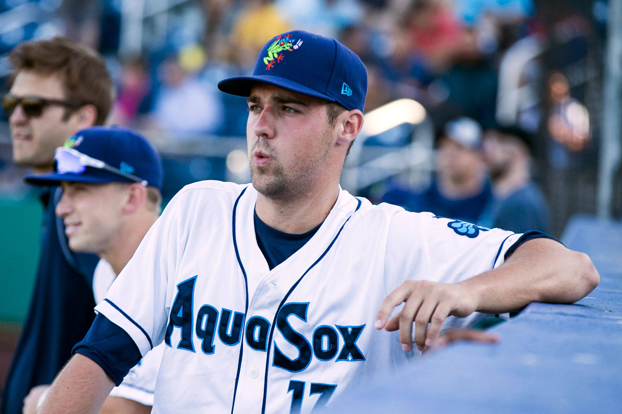 Aquasox's Michael Plassmeyer watches the action on the field against the Spokane Indians Tuesday evening at Everett Memorial Stadium on July 17, 2018. (Kevin Clark / The Herald)