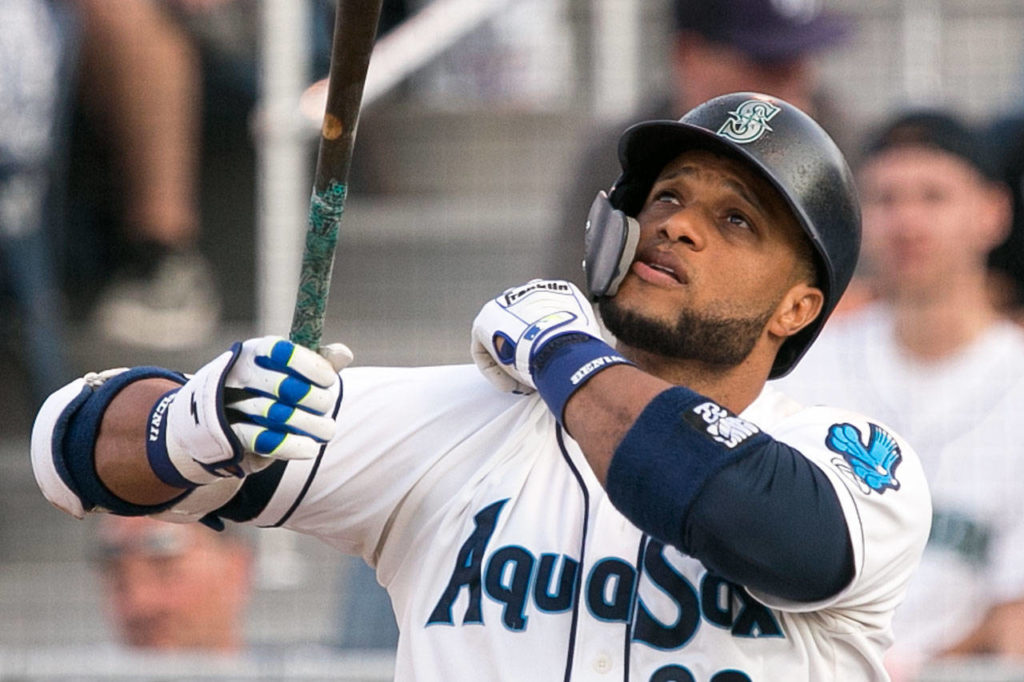 Mariners slugger Robinson Cano, on a rehab assignment with the AquaSox, bats during a game against the Emeralds on Thursday at Everett Memorial Stadium. (Kevin Clark / The Herald)                                 Mariners slugger Robinson Cano, on a rehab assigment with the AquaSox, bats during a game against the Emeralds on Aug. 9, 2018, at Everett Memorial Stadium. (Kevin Clark / The Herald)