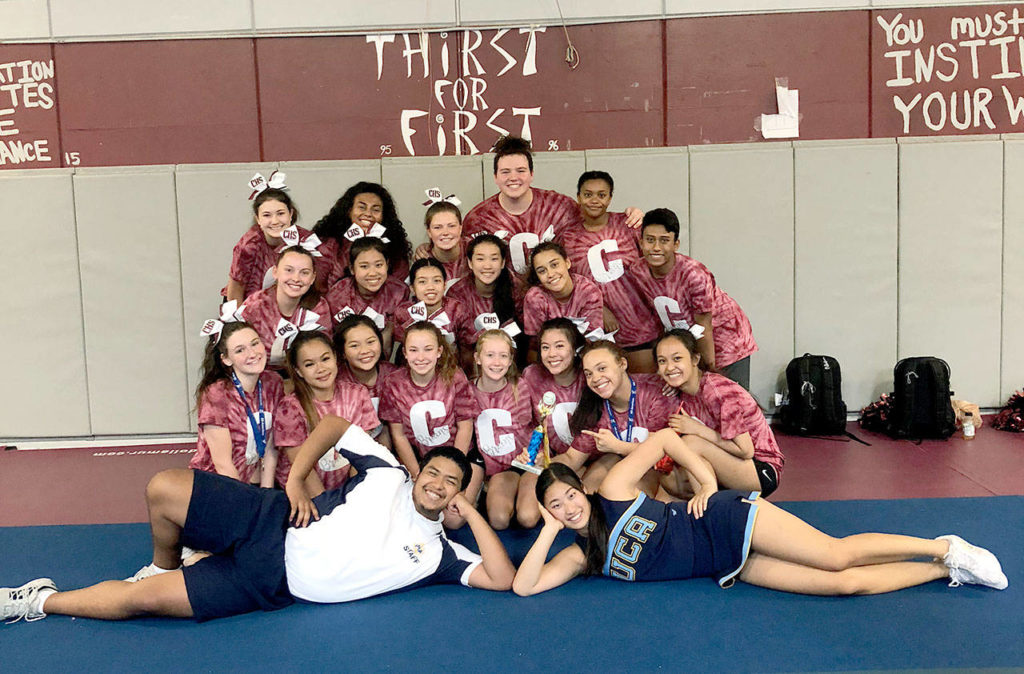 The cheer team from Cascade High School was among several Snohomish County squads to attend camps this summer to hone skills for the coming sports seasons. (Contributed photo)