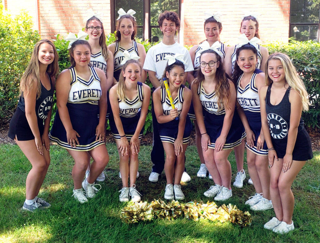 The cheer team from Everett High School was among several Snohomish County squads to attend camps this summer to hone skills for the coming sports seasons. (Contributed photo)