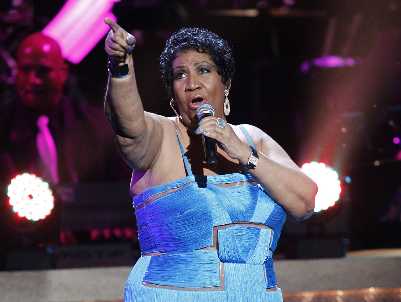This 2012 photo shows singer Aretha Franklin performing during the BET Honors at the Warner Theatre in Washington. Franklin died Thursday, Aug. 16, at her home in Detroit. She was 76. (AP Photo/Jose Luis Magana, File)