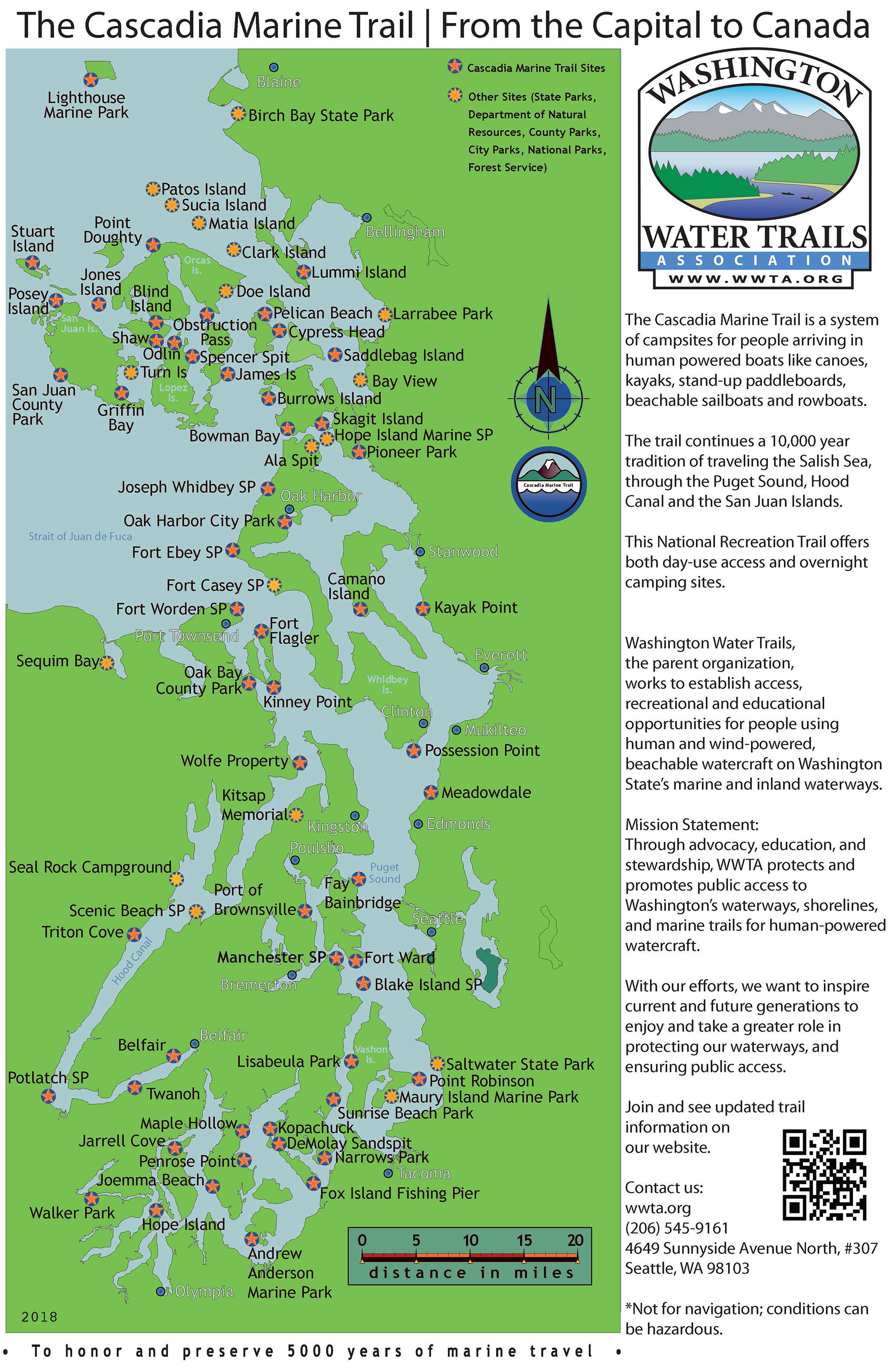 Since its formation, the Cascadia Marine Trail has been recognized as one of only 16 National Millennium Trails by the White House and was designated a national recreation trail,— the same status give to the Pacific Crest Trail. (Washington Water Trails Association)