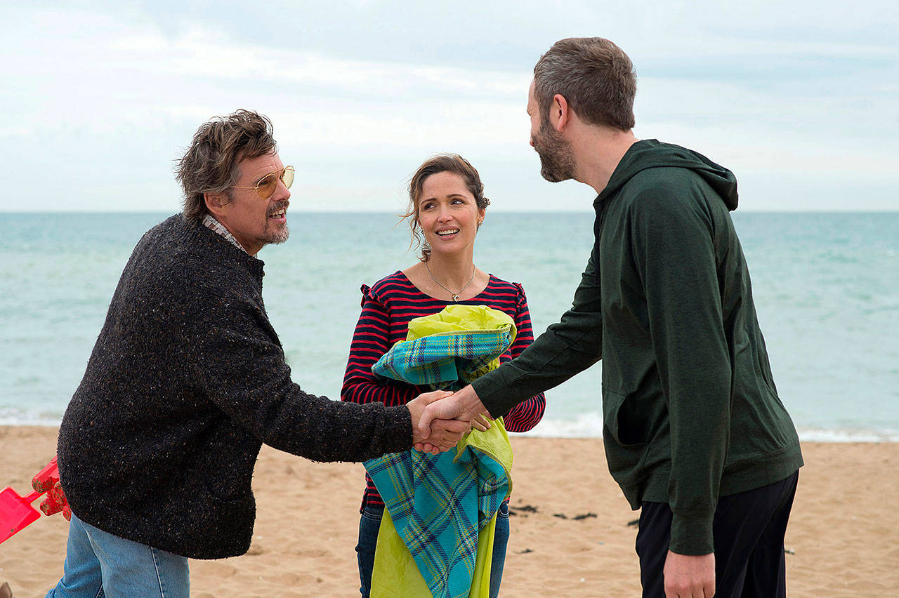 """From left, Ethan Hawke, Rose Byrne and Chris O'Dowd in """"Juliet, Naked."""" (Lionsgate-Roadside Attractions)"""