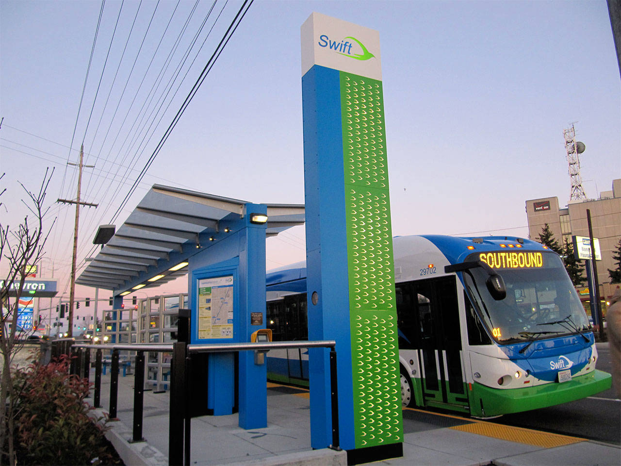 A Community Transit Swift bus line station on Evergreen Way in Everett, just south of Casino Road. (Community Transit photo)