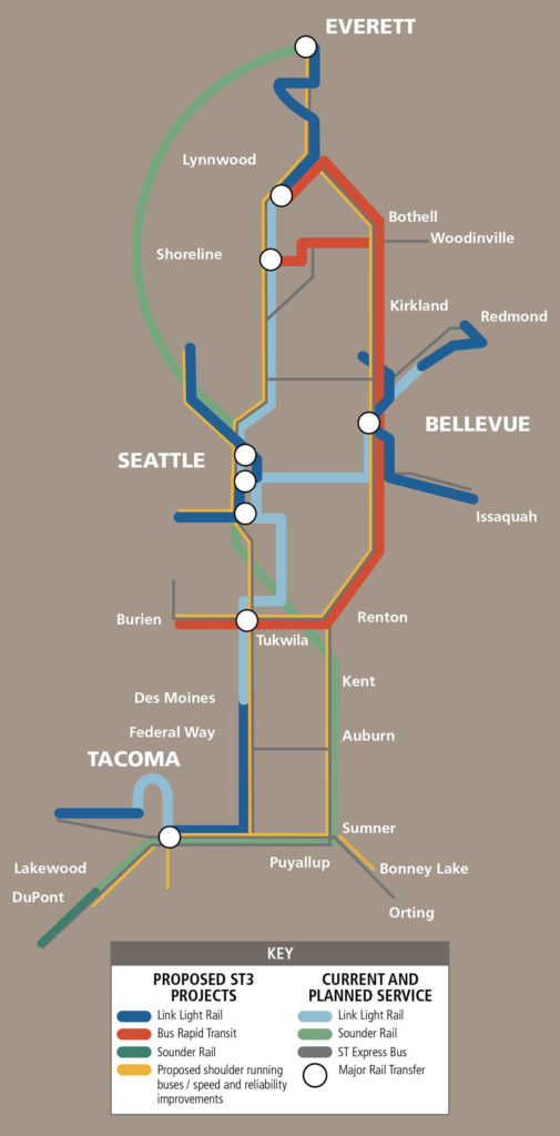 Sound Transit route map that includes proposed expansion through ST3.