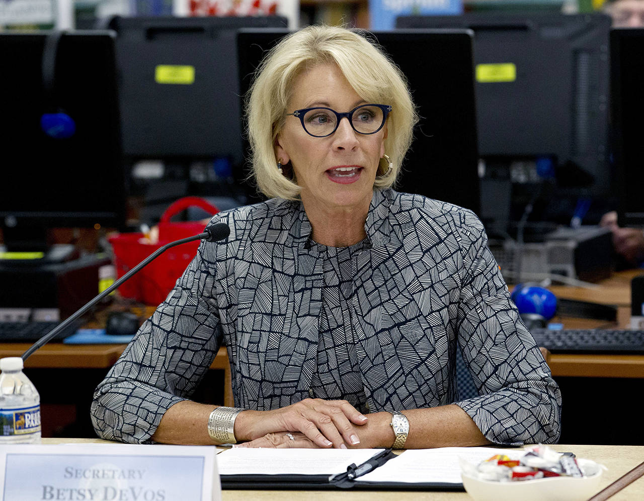 In this May 31 photo, Education Secretary Betsy DeVos speaks during a visit of the Federal School Safety Commission at Hebron Harman Elementary School in Hanover, Maryland. (AP Photo/Jose Luis Magana, File)
