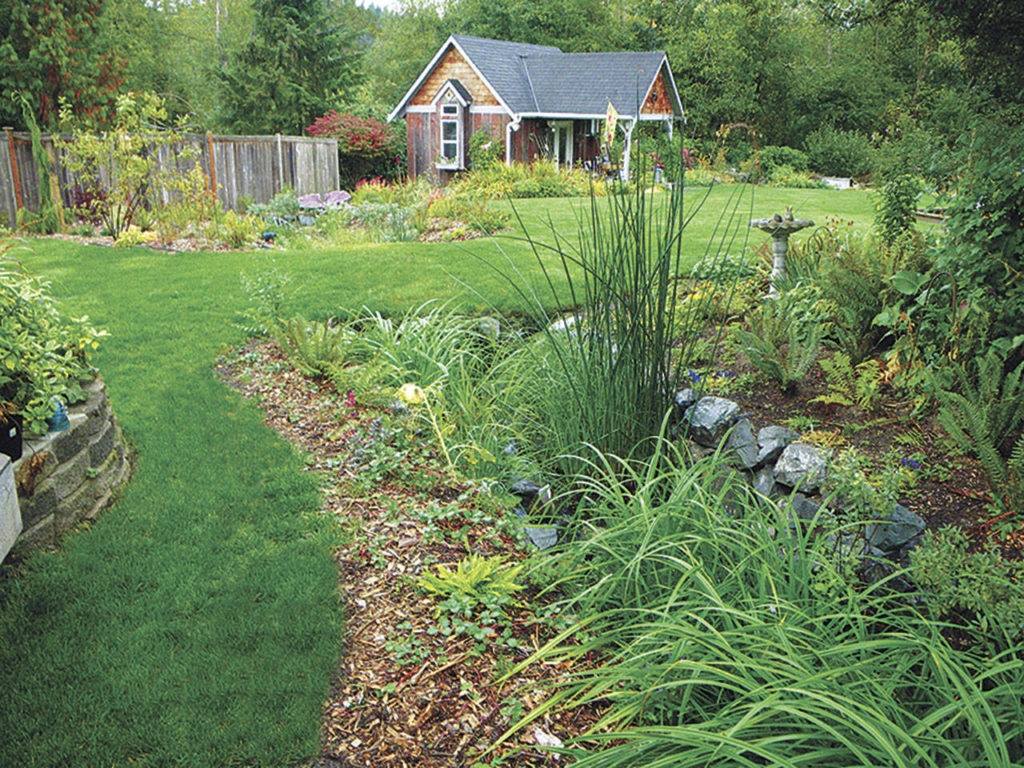 This is one example of a completed rain garden, established at a home in Monroe. (Snohomish County)
