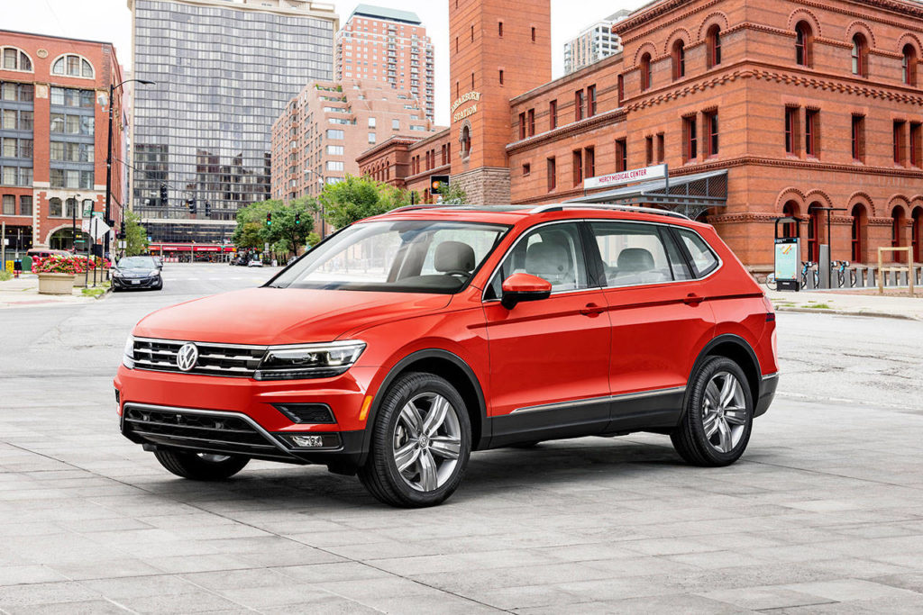 The Volkswagen Tiguan compact SUV has a longer wheelbase and overall length for 2018, with room for a third row seat. (Manufacturer photo)