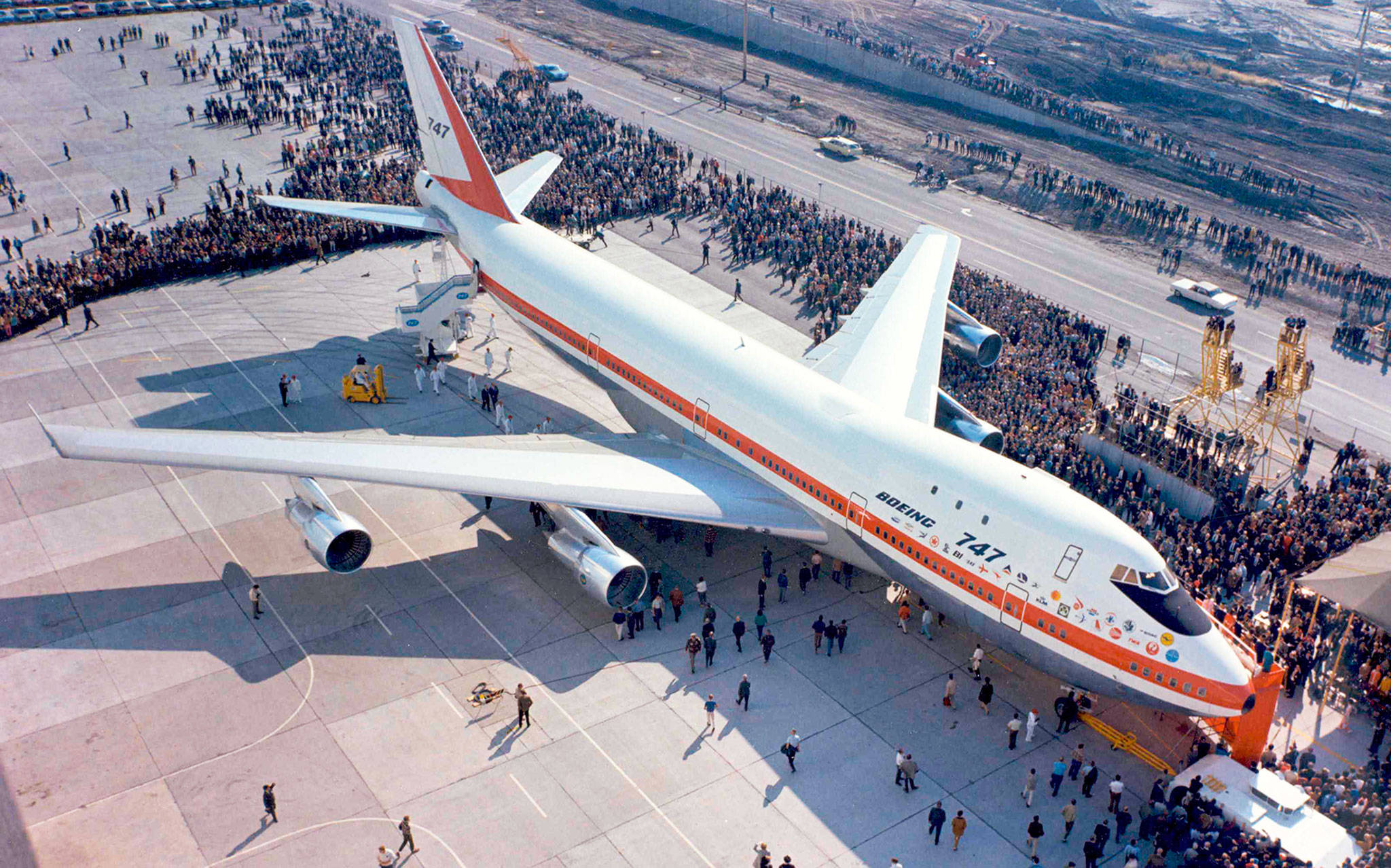 The rollout ceremony for the first Boeing 747 at the Everett factory.  (Boeing Co