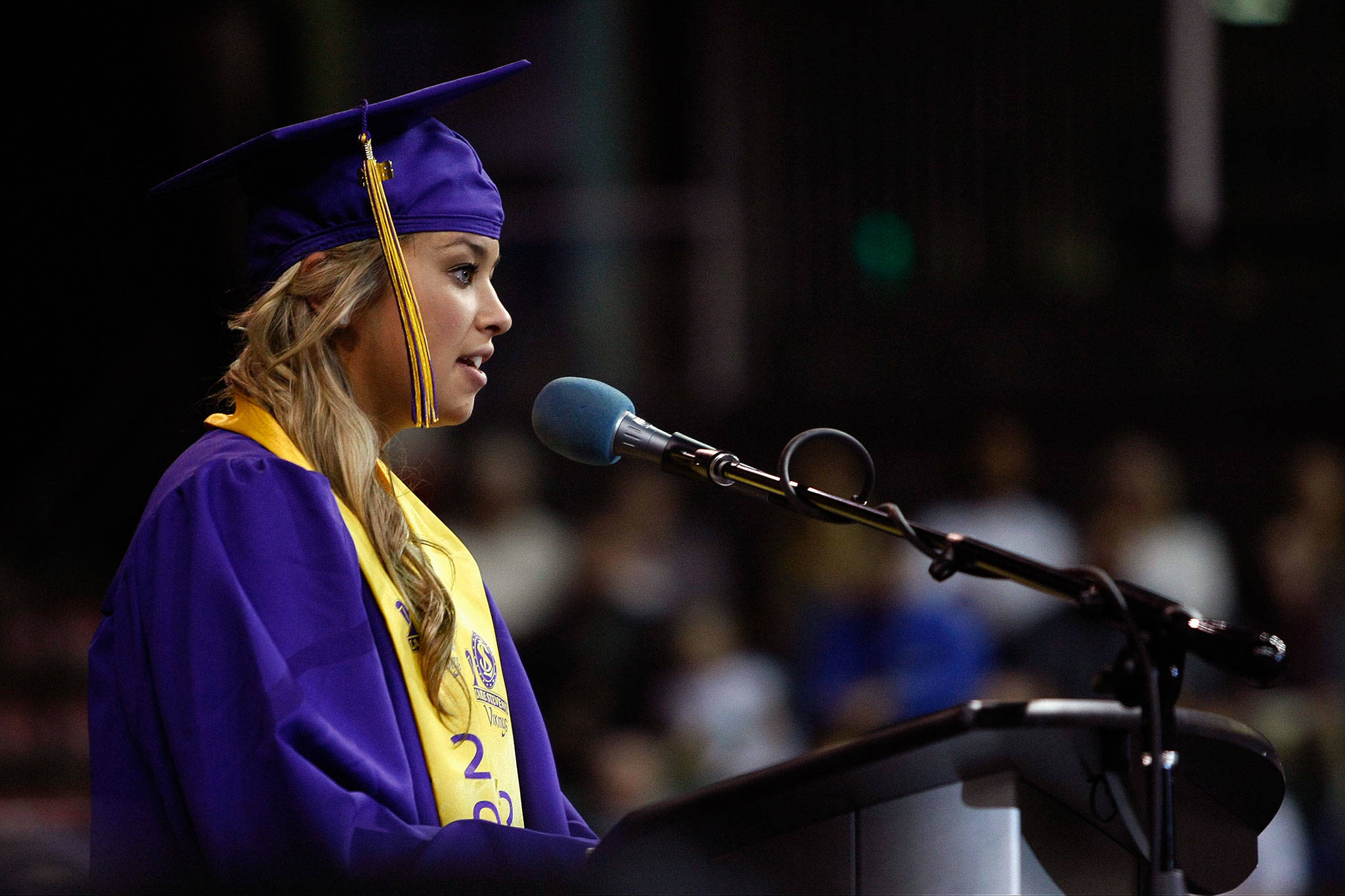 Ivy Jacobsen, now a Bothell police officer, spoke about being a survivor of sexual abuse at her graduation from Lake Stevens High School in 2014. (Photo by Ian Terry / Herald File)