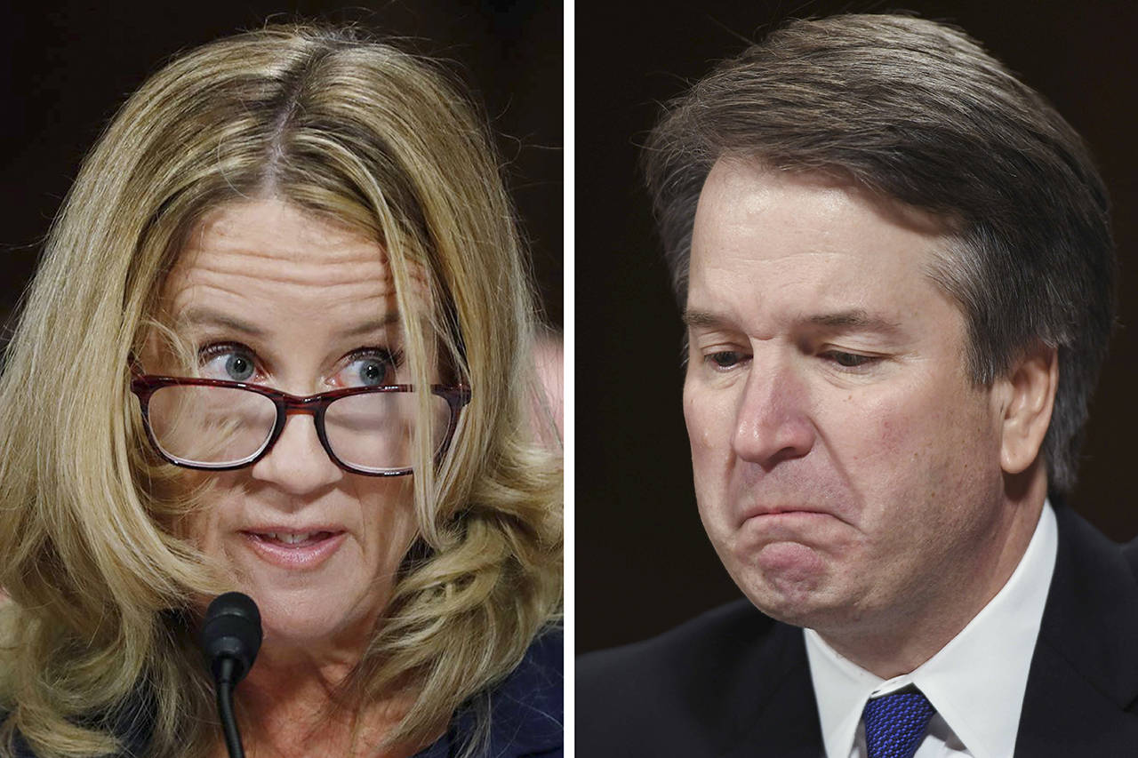 Christine Blasey Ford (left) and Brett Kavanaugh