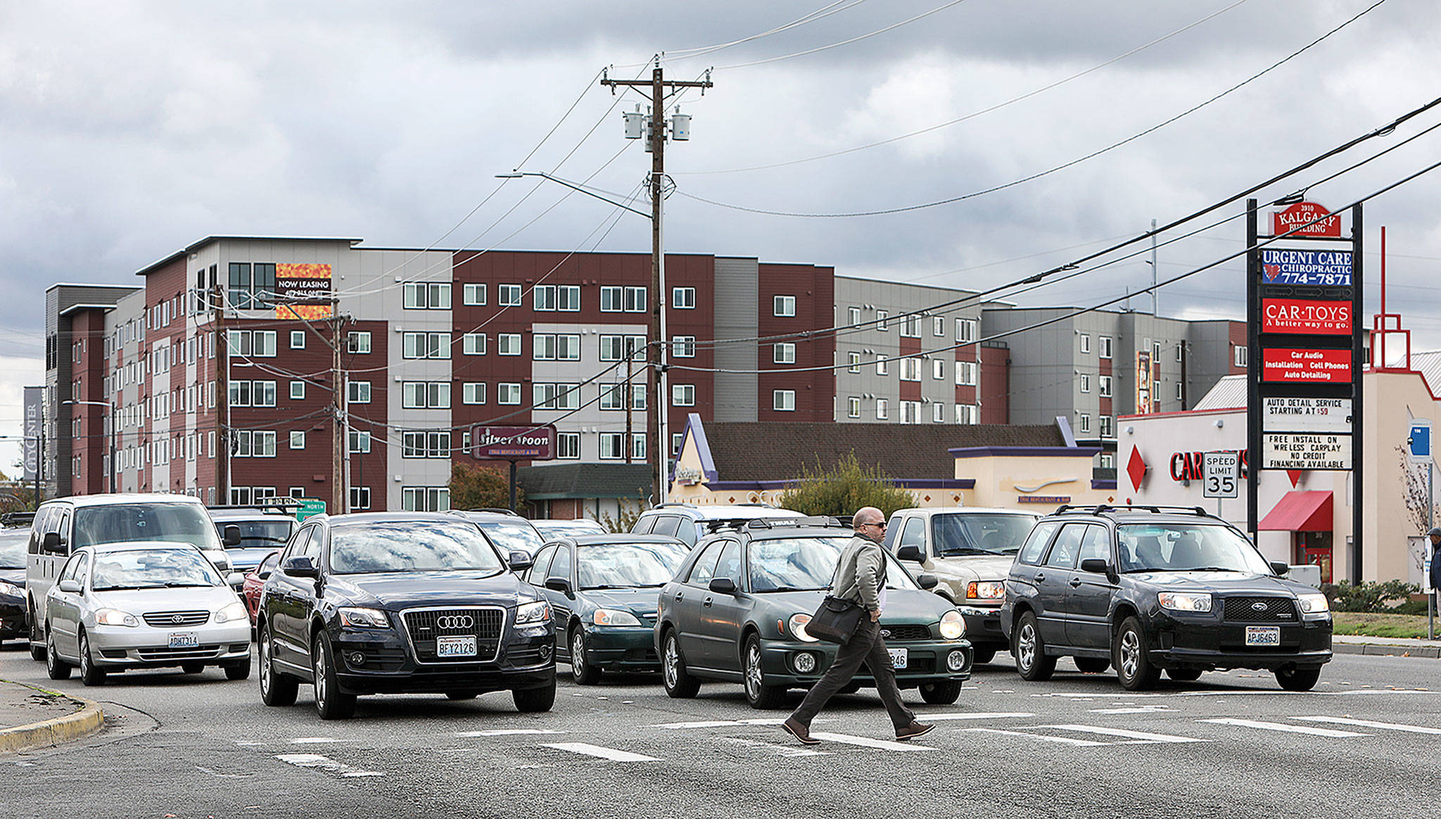 Lynnwood is using eminent domain to acquire the last parcels of land needed to widen 196th Street SW. (Lizz Giordano / The Herald)