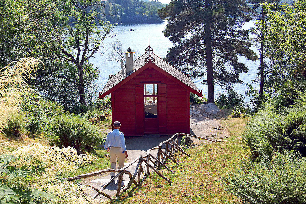 Composer Edvard Grieg retreated daily to this picture-perfect studio on a Norwegian fjord. (Rick Steves / Rick Steves/ Europe)