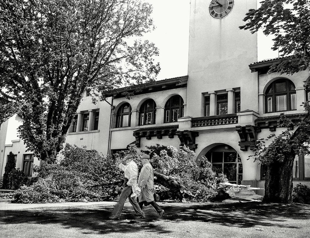 Damage from the Columbus Day Storm on October 12, 1962, in front of the Mission Building on the Snohomish County Courthouse Campus in Everett. (Herald File)