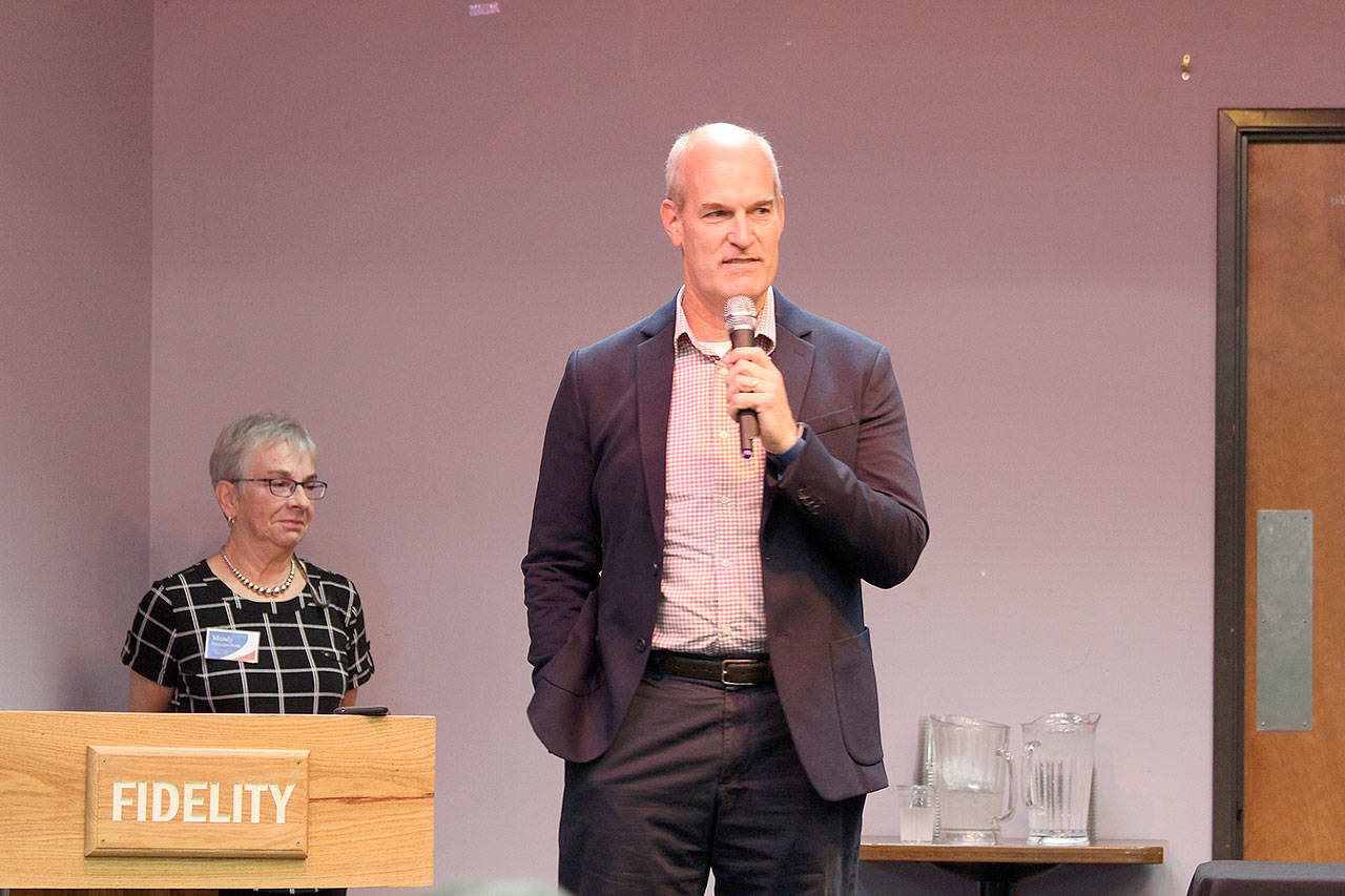 U.S. Rep. Rick Larsen speaks at a League of Women Voters forum in Oak Harbor last week. (Jessie Stensland / Whidbey News-Times)