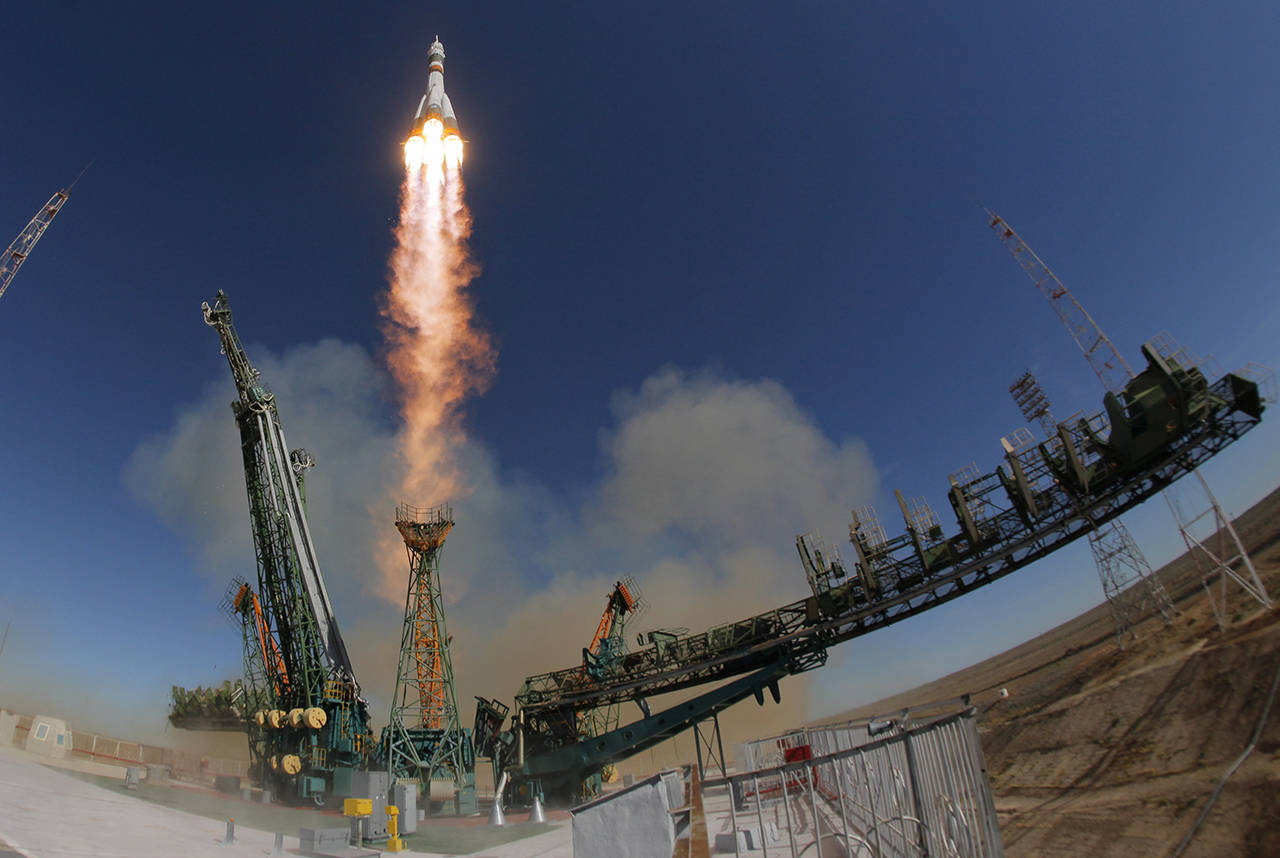 The Soyuz-FG rocket booster with Soyuz MS-10 space ship carrying a new crew to the International Space Station, ISS, blasts off at the Russian leased Baikonur cosmodrome, Kazakhstan, on Thursday. The Soyuz booster rocket failed about two minutes after the launch. (AP Photo/Dmitri Lovetsky)