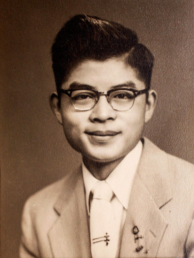 Victor Hirakawa's 1955 Everett High School graduation photo. He had come to Everett from Japan, without his parents, at age 15.