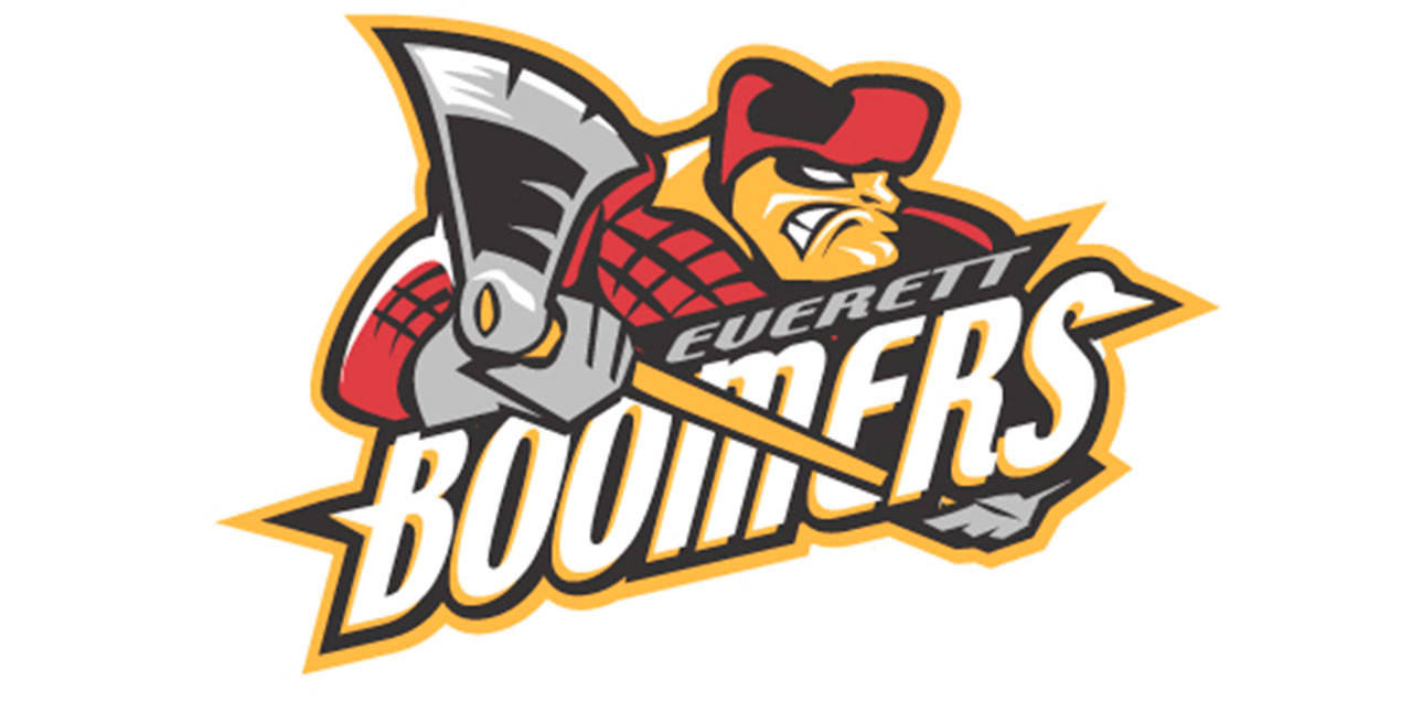 "Another nickname considered for Everett's expansion hockey team was the ""Boomers."" This logo and color scheme were created by Keith Flynn. (Courtesy of Everett Silvertips)"