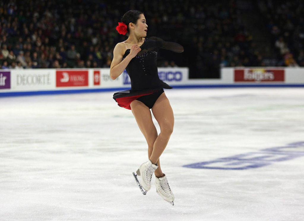 Satoko Miyahara closes jumps during her ladies free skate program at the 2018 Skate America competition on Sunday at Angel of the Winds Arena in Everett. (Olivia Vanni / The Herald)