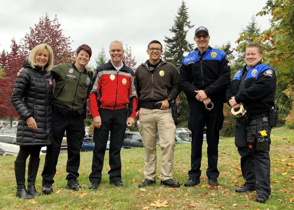 Columbia Elementary School welcomed special guests from the Mukilteo Police and Fire departments as part of its Walktober Wednesdays in October. (Contributed photo)