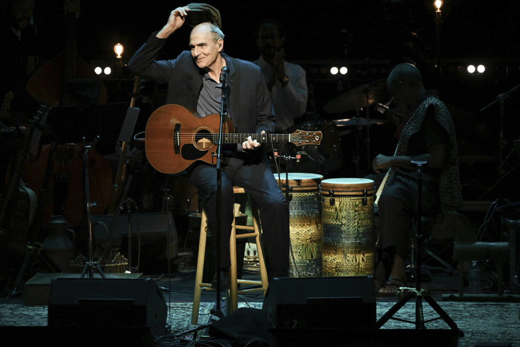 James Taylor performs at JONI 75: A Birthday Celebration on Nov. 7 at the Dorothy Chandler Pavilion in Los Angeles. (Photo by Richard Shotwell/Invision/AP)