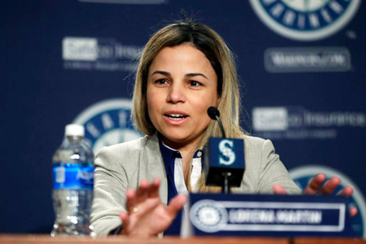 Lorena Martin, Seattle Mariners' director of high performance, speaks Thursday, Jan. 25, 2018, in Seattle, during the Mariners annual media briefing before the start of spring training baseball. (AP Photo/Ted S. Warren)
