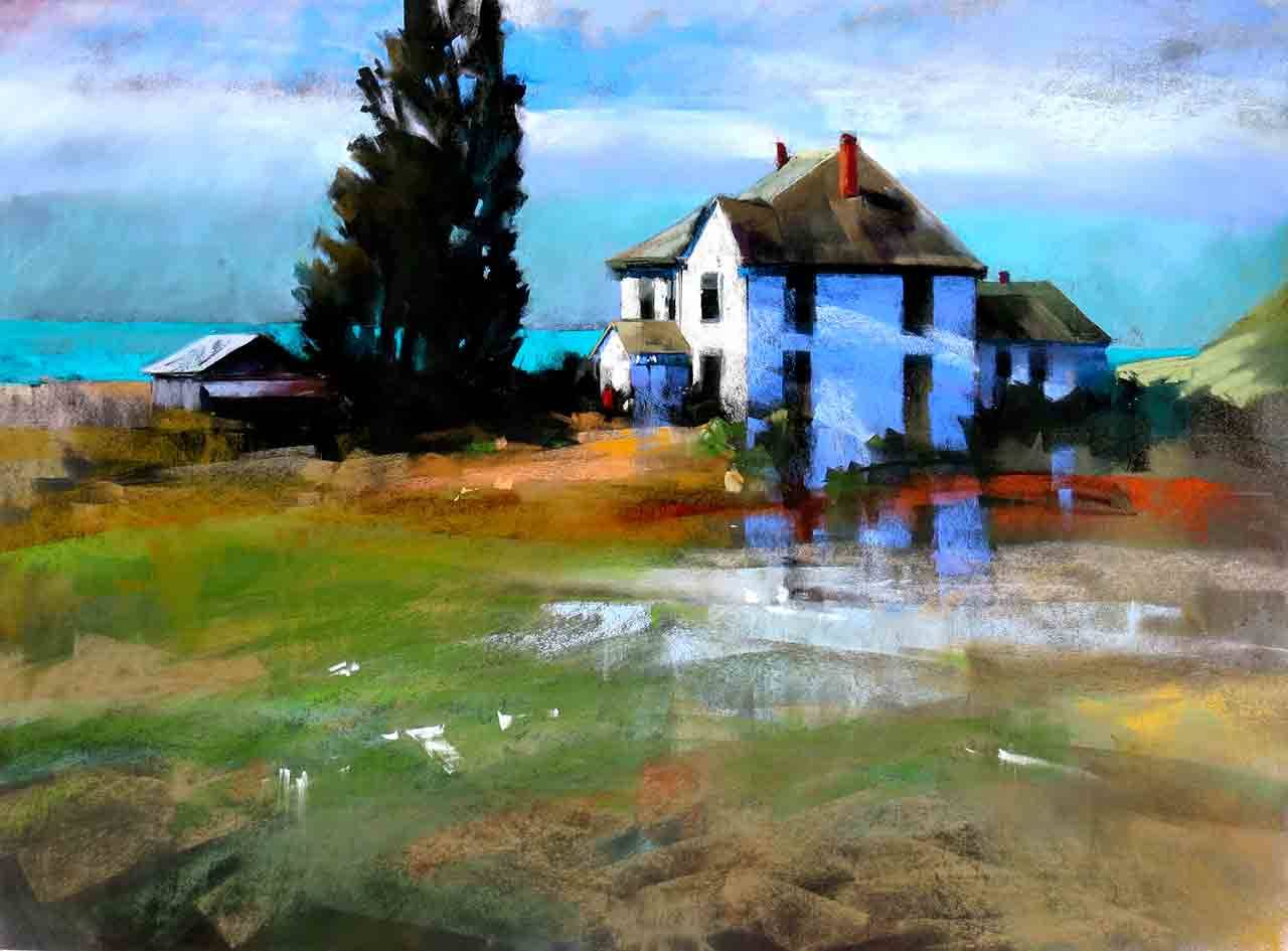 """""""Valley Homestead"""" is by Vashon artist Janice Wall, based on a scene from Whidbey Island."""