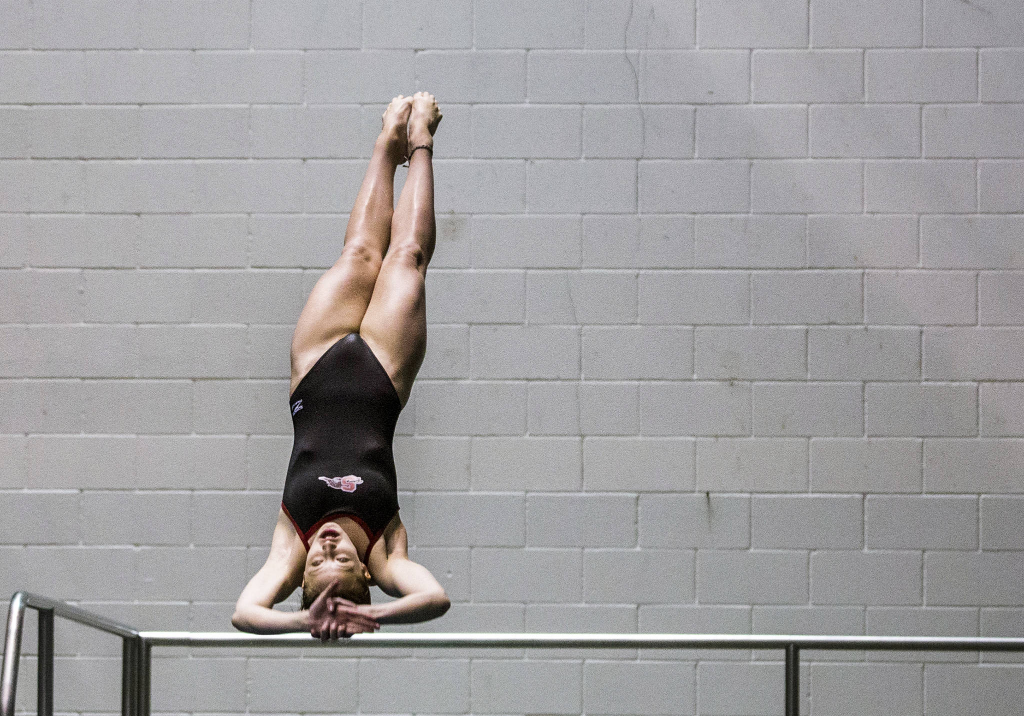 Snohomish's Kayli Koersavage dives during the WIAA 2018 State Swim & Dive Championships on Nov. 10 in Federal Way. (Olivia Vanni / The Herald)