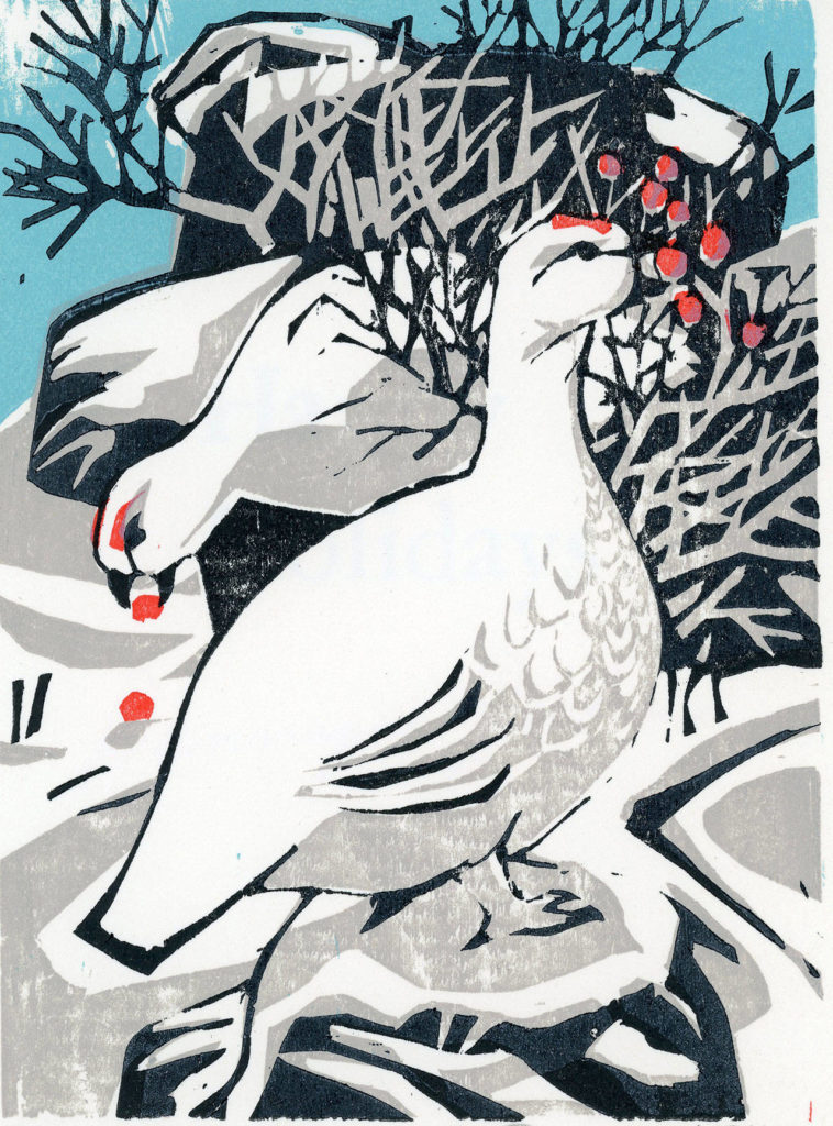 """Danny Pierce's """"Ptarmigan"""" has been a favorite card at the exhibit over the years. Pierce created the woodcut in 1994."""