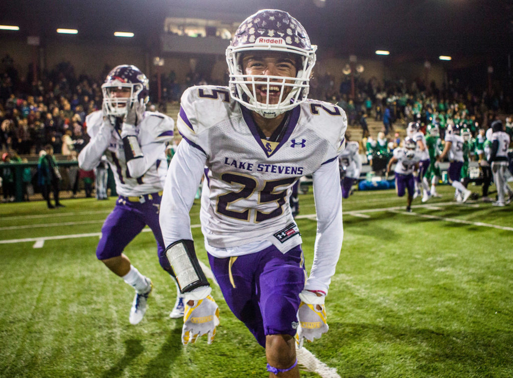 Lake Stevens' Kasen Kinchen smiles after winning the Class 4A state state semifinal game against Woodinville at Pop Keeney Stadium on Saturday, Nov. 24, 2018 in Bothell, Wa. (Olivia Vanni / The Herald)