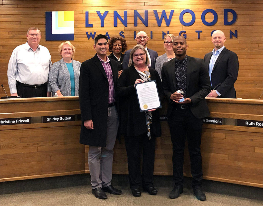 Terence Calhoun (right) with Mayor Nicola Smith and supervisor Will Cena was given Lynnwood's Employee Excellence Award. (Contributed photo)