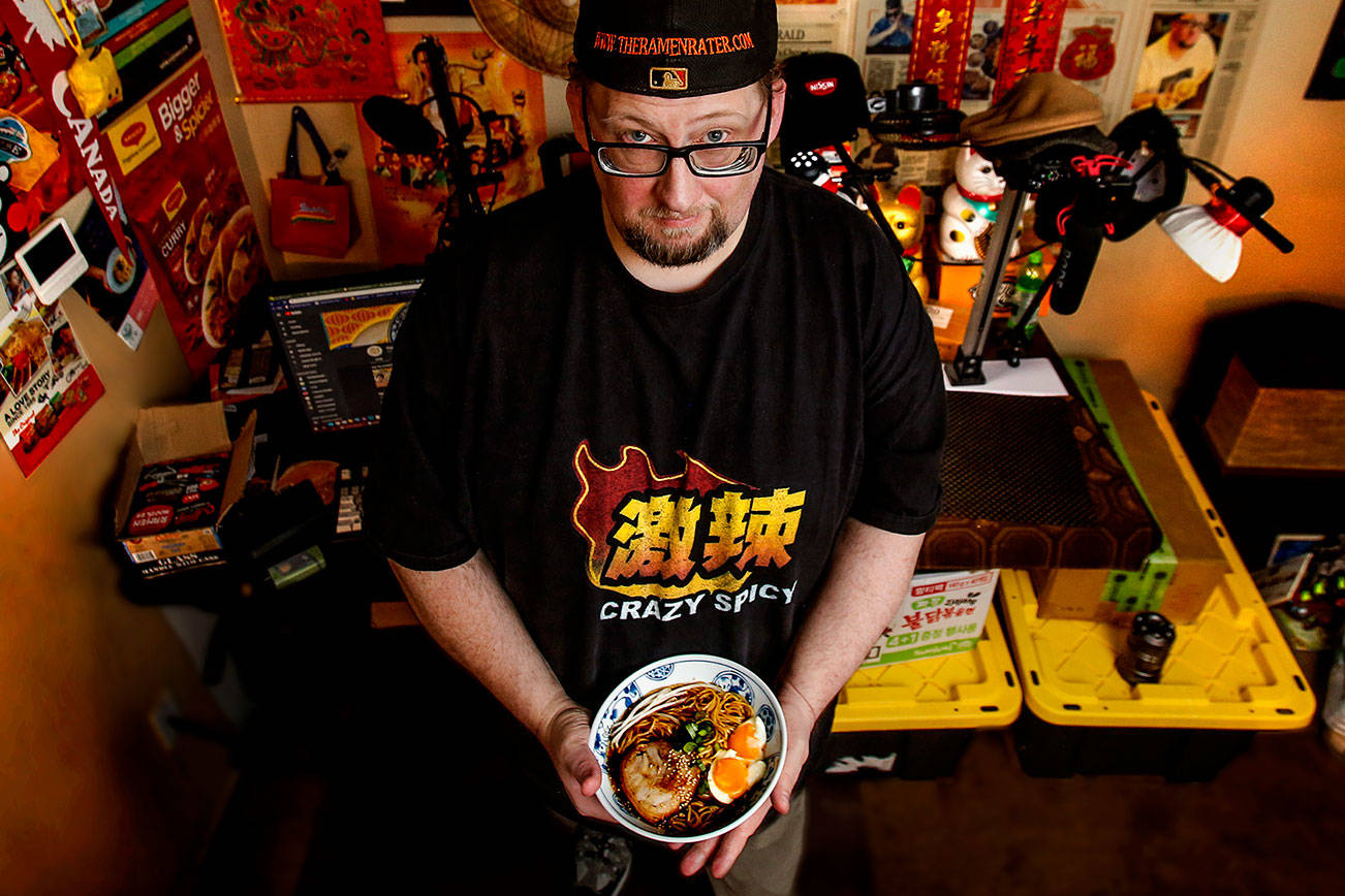 Former Edmonds resident Hans Lienesch, aka the Ramen Rater, has gained fame throughout the Pacific Rim as a connoisseur of prepackaged instant noodles. (Dan Bates / The Herald)