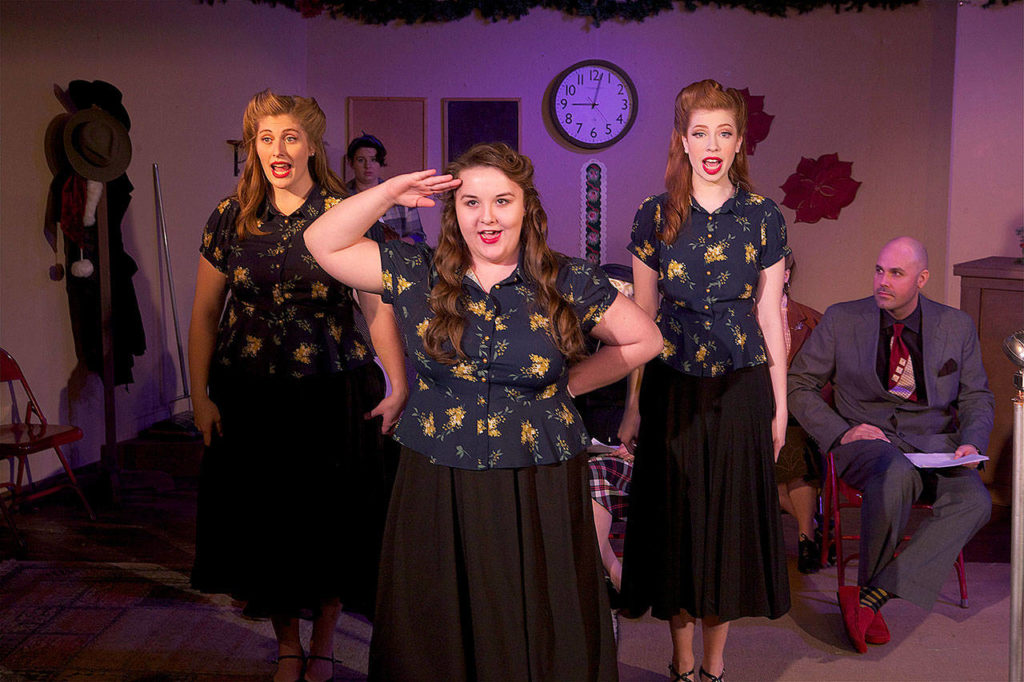 "Joyél Richardson, Darian Conn and Mia Perritt portray an Andrews Sisters-like trio called the Twisted Sisters in Phoenix Theatre's ""Twist of the Magi."" They'll sing Christmas carols and parody 1940s commercials. (Photo by James Sipes)"
