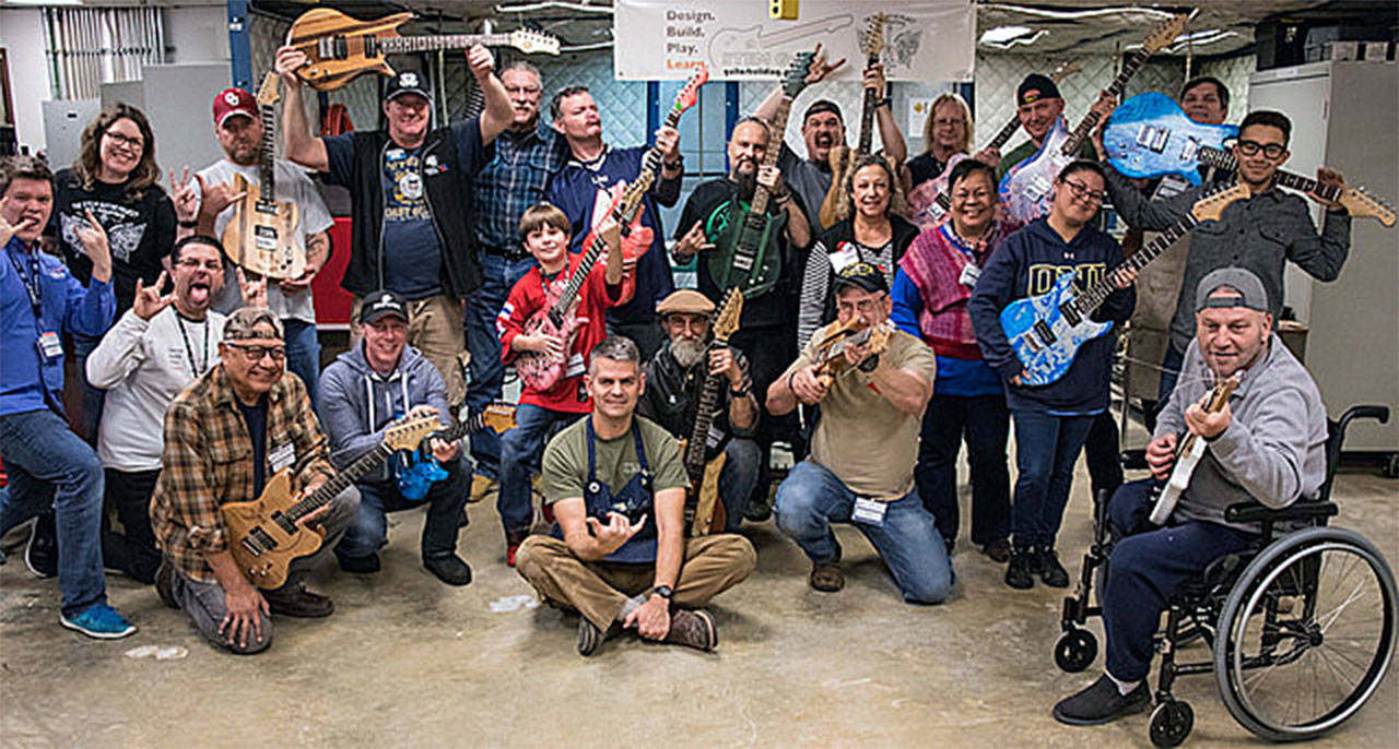 A group of veterans built guitars at a workshop hosted by Edmonds Community College in November in recognition of Veterans Day. (Photo by James Huntington Cordero)