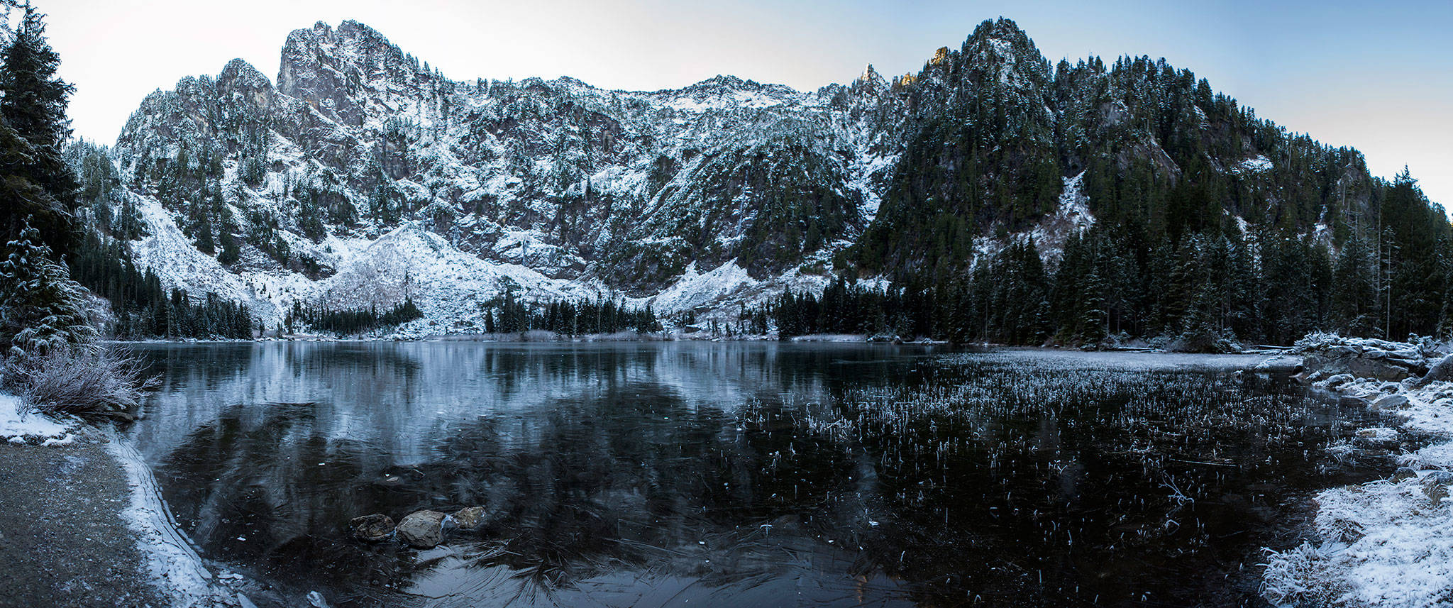 A panoramic view of Heather Lake on Wednesday, Dec. 5, 2018 in Granite Falls, Wa. (Olivia Vanni / The Herald)