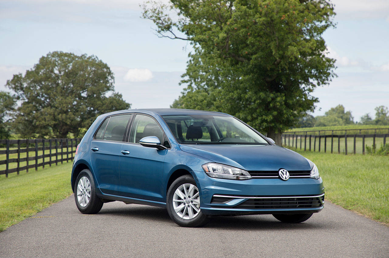 The Volkswagen Golf is freshened for 2018 with new LED headlights, a new front bumper and a new grille with chrome surround. (Manufacturer photo)