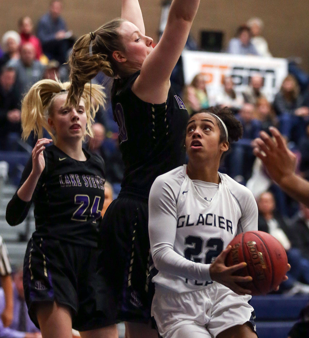 Glacier Peak sophomore guard Aaliyah Collins scored a game-high 20 points, including 16 in the second half. (Kevin Clark / The Herald)