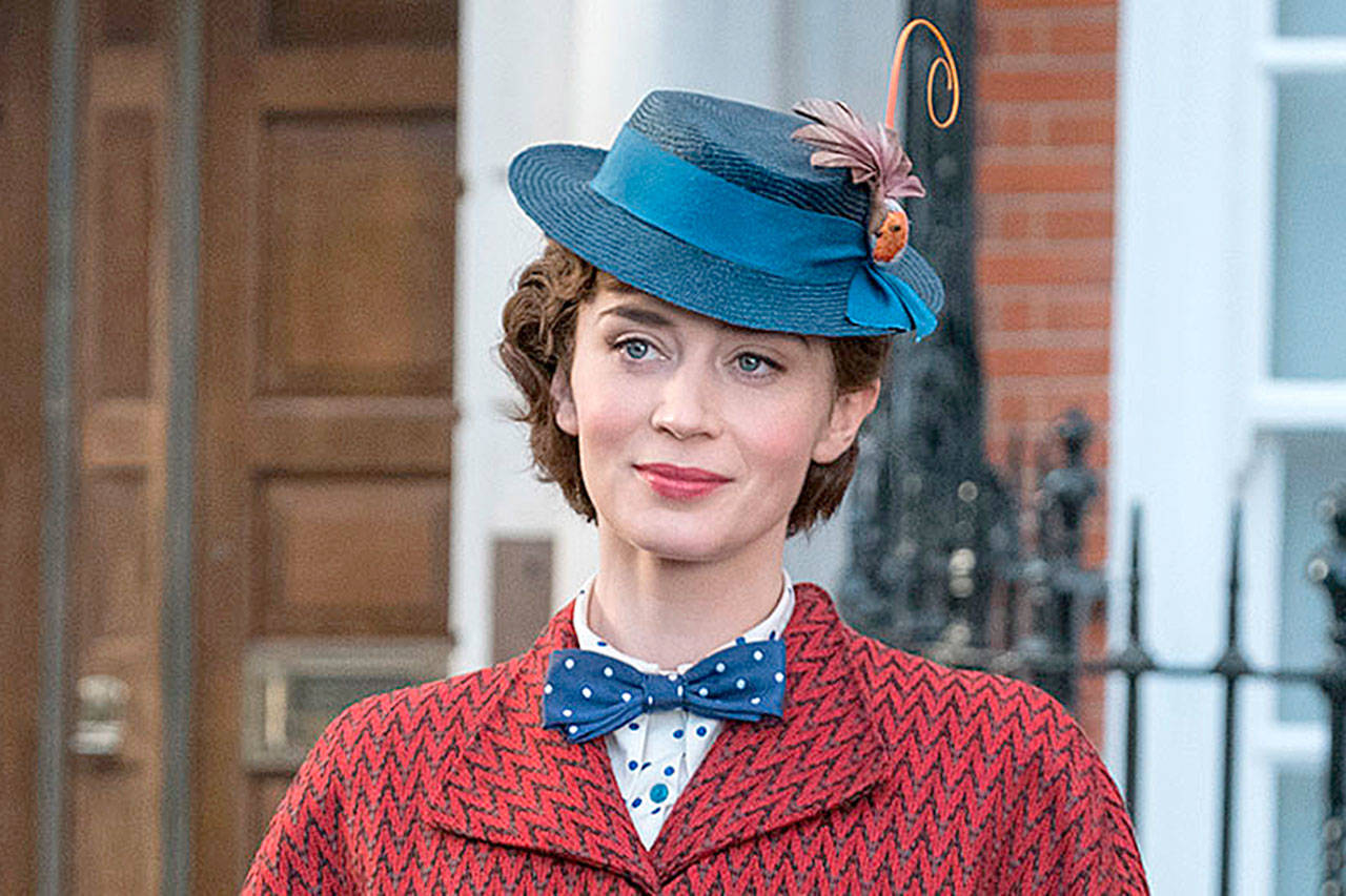 """Emily Blunt reprises Julie Andrews' role as Mary Poppins in """"Mary Poppins Returns."""" (Disney)"""
