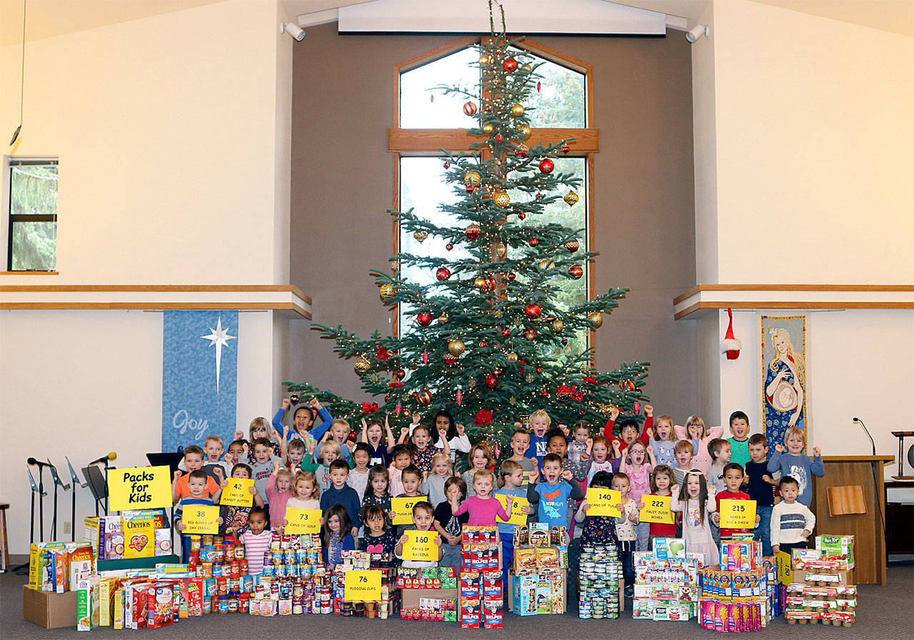 Students at Harbour Pointe Christian Prechool collected food for a Packs for Kids ministry at Pointe of Grace Lutheran Church. (Contributed photo)