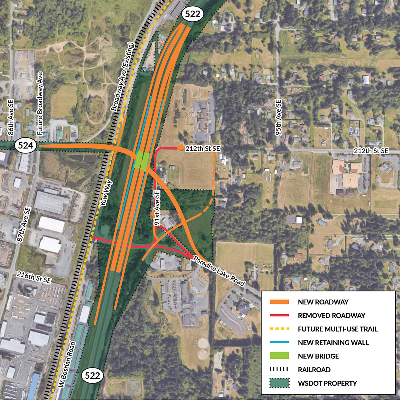 This is a preliminary concept of a proposed new interchange on Highway 522 at Paradise Lake Road in Maltby. (WSDOT)