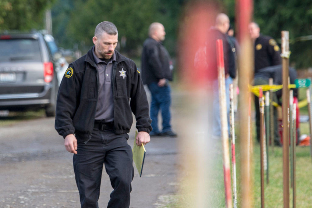 Clallam County Sheriff's Det. Josh Ley walks away from the scene were three people were killed. (Jesse Major / Peninsula Daily News)