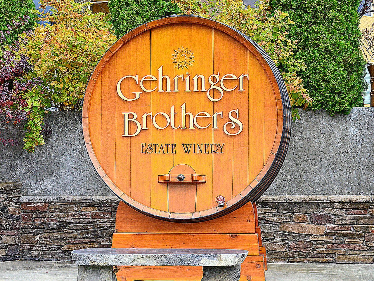This large barrel serves as a greeting for visitors to Gehringer Brothers Estate Winery near Oliver, British Columbia. (Abra Bennett/Great Northwest Wine)