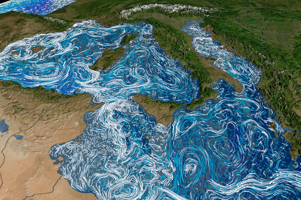 """Bella Gaia"" includes visualizations of Mediterranean Sea currents using data and software from NASA. (NASA)"