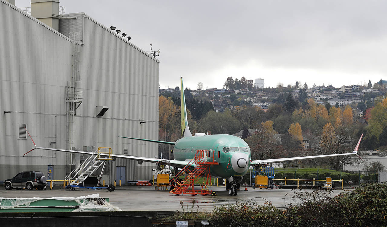 A Boeing 737 outside the Renton factory. The company delivered 580 airplanes from that plant in 2018. (AP Photo/Ted S. Warren, File)