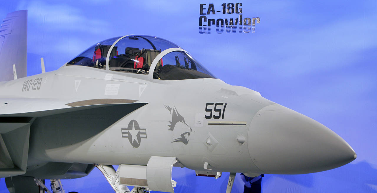 A Boeing EA-18G Growler sits on display during a ceremony marking delivery of the first production version of the airborne electronic attack aircraft on Sept. 24, 2007, at a Boeing production facility in Berkeley, Missouri. (AP Photo/Jeff Roberson, file)