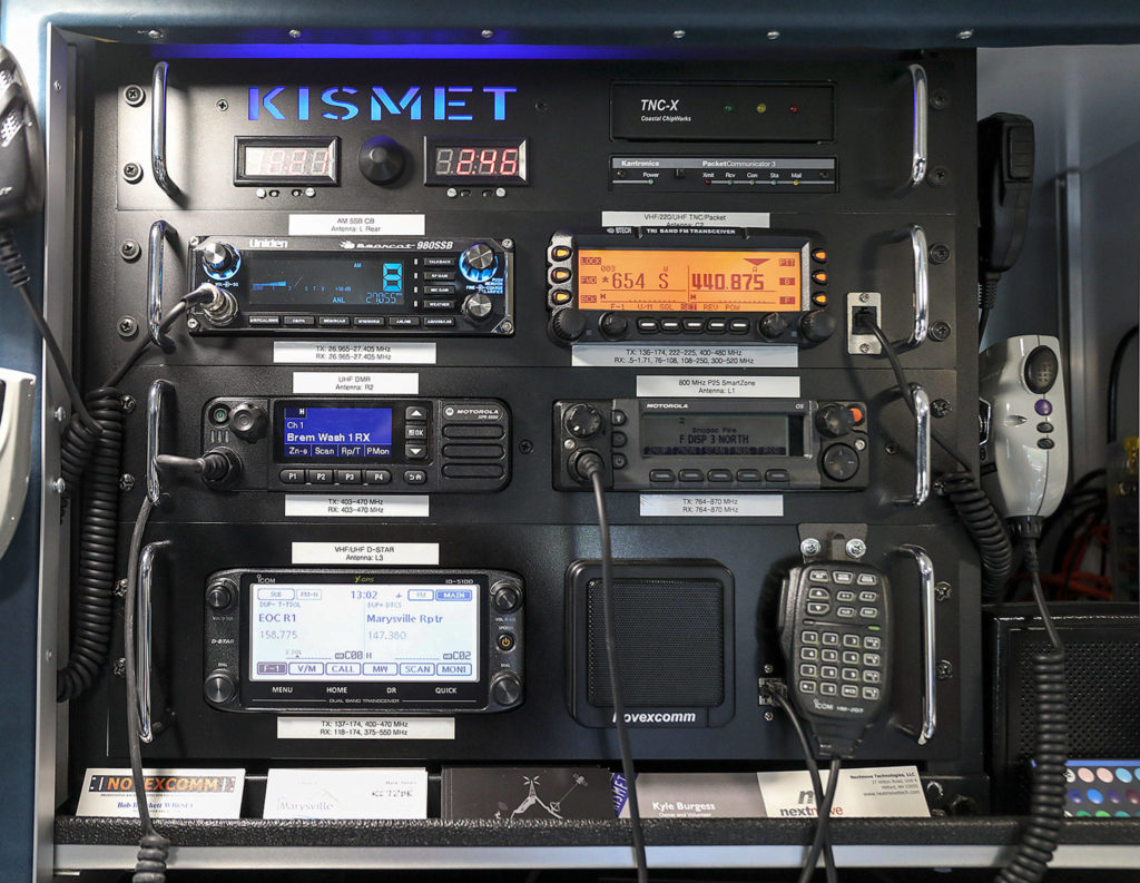 Inside the Kismet, a mobile communication hub, are radios able to send a range of communications. (Lizz Giordano / The Herald)