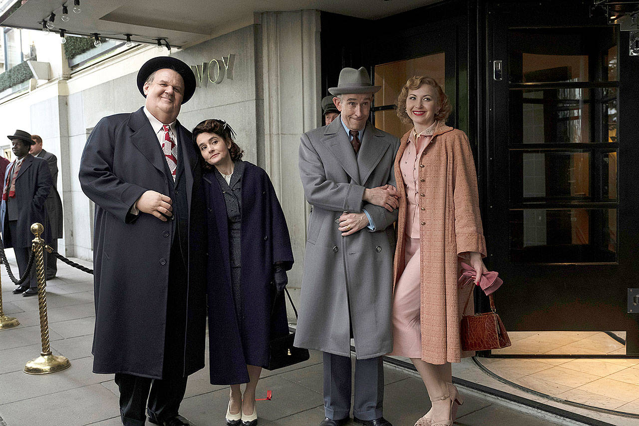 "From left: John C. Reilly, Shirley Henderson, Steve Coogan and Nina Arianda in ""Stan & Ollie."" (Nick Wall/Sony Pictures Classics)"