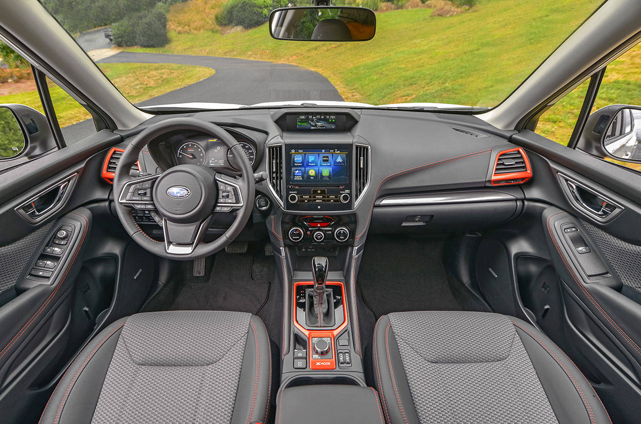 Interior highlights of the 2019 Subaru Forester include high quality materials, quiet and comfort, and more room all around. The Sport model's interior is shown here. (Manufacturer photo)