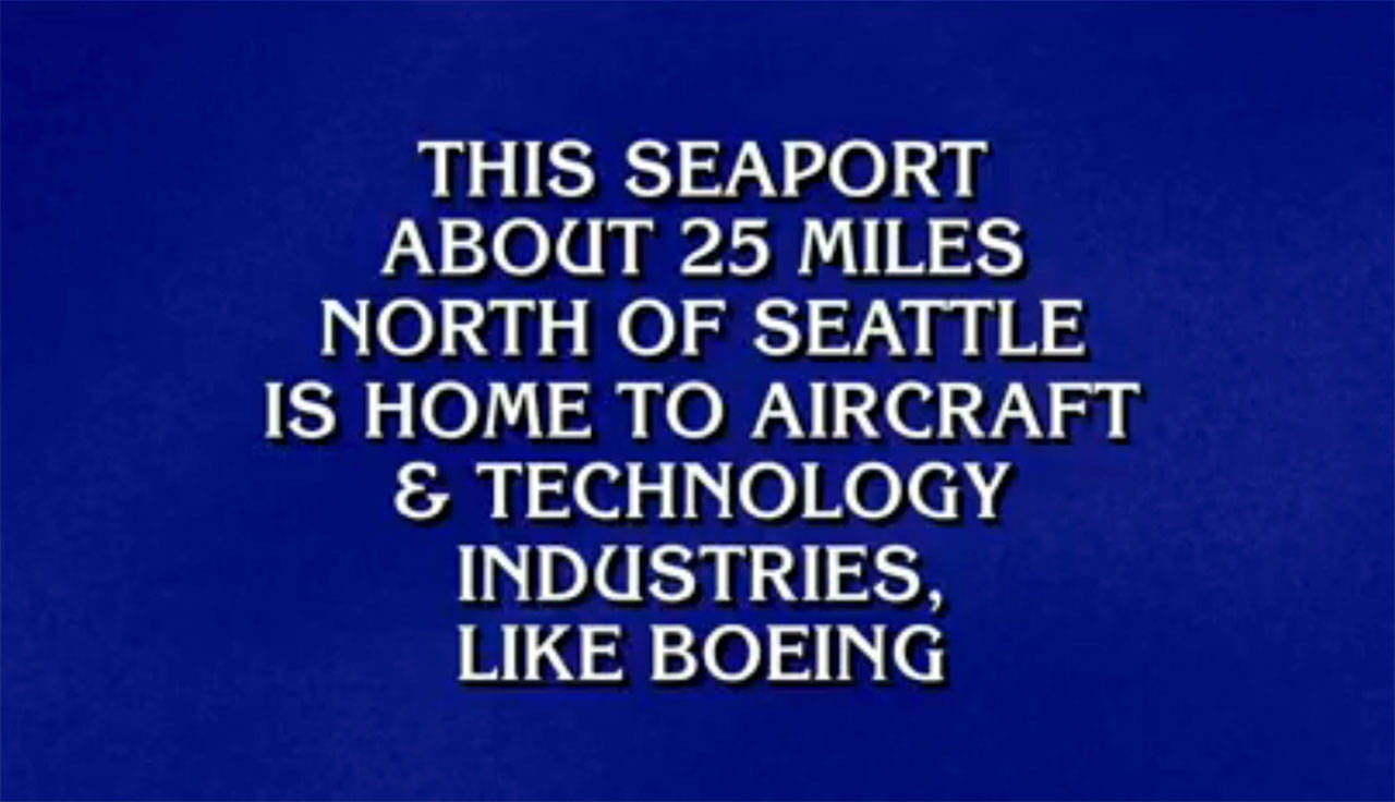 """""""What is Everett?"""" was the correct question to a Jeopardy! answer during an episode that aired Jan. 29. (Image courtesy of Jeopardy!)"""